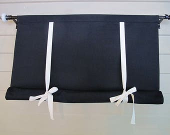 CUSTOM Order for ROBIN Black Shade with White Ties Tie Up Curtain Swedish Roll Up Shade