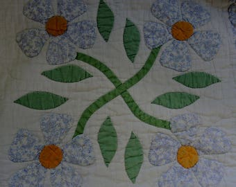 Vintage Full/Queen Size Quilted Coverlet, Blue And White Quilt, 70 x 88 Inches, Rose of Sharon Cotton Quilt