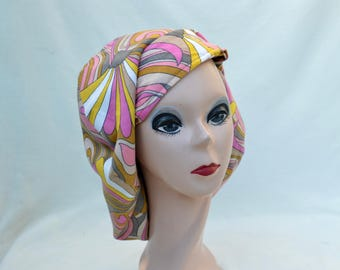 Vintage Mod Peter Max Style Oversized Artist Beret /  Psychedelic Hippy Fabric Beret  /  Mod Print Slouchy Fabric Hat / Hippie Artist Hat