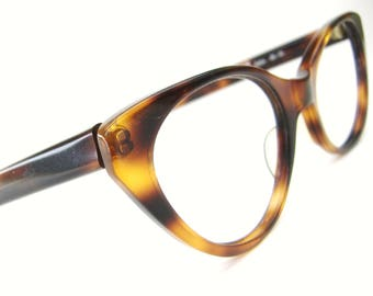 Vintage Tortoise Brown Cat eye Eyeglasses Sunglasses Frame