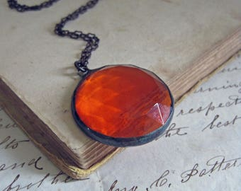 Orange Faceted Glass Necklace Autumn Halloween Jewelry