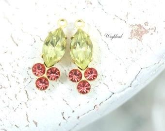 Jonquille & Peach Vintage Earring Drops Navette Rhinestone Swarovski Crystals 18x7mm Brass Prong Settings - 2