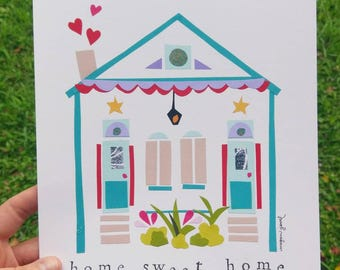 "New Orleans House, 8x10"" Fine Art Print, Shotgun Double,  NOLA House Art"