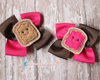 Girls Hair Bows--Peanut Butter Jelly Bows (Pink)