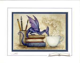 Hand Accented book dragon PRINT 5x7 matted 8x10 by Amy Brown