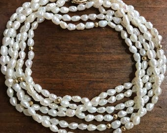 Vintage Rice Pearl 14k Three Strand Necklace