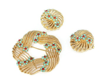 Turquoise and Red Beads Brooch Earrings Swirled Design Signed Lisner Vintage