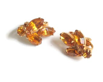Topaz Amber Rhinestone Clip Earrings Smaller Size Vintage