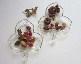 Vintage Leaf Shaped Clear Glass Relish Dishes - Two Clear Glass Leaf Shaped Dish - Maple Leaf Shaped Plate - Glass Leaf Candy Nut Dishes