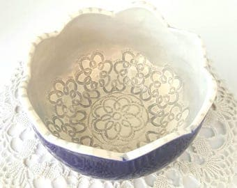 Scalloped Clay bowl | Navy and Gray Colored Bowl | Textured Clay bowl | Small Clay Bowl | Handbuilt bowl | Clay bowl | Ceramic Cup