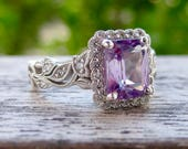 Vine Ring with Natural Color Changing Green Purple Alexandrite in 14K White Gold with Diamonds Size 6.75 - RESERVED for Carrie