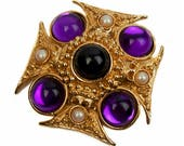 1980s Gold Plated with Jet Black Cabochon Lucite Purple Cabochon Maltese Cross Vintage Pin Brooch