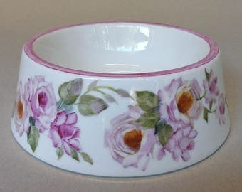 Large Non-Spill Pet Dish with Pink Roses