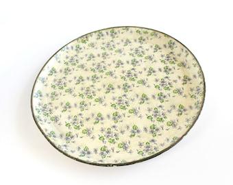 Vintage Paper Mache Serving Vanity Tray Round Alcohol Proof  Floral Violets Bedroom Bathroom Cottage Decor