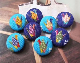 Japanese Traditional Colourful Dots Wave Sakura Floral Flying Cranes, Choose Color-Handmade Fabric Covered Buttons(0.87 Inches, 5PCS)