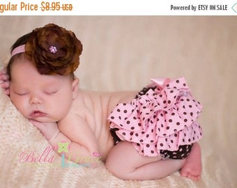 SUMMER SALE Baby Headband - Infant Headband - Newborn Headband - Pink Headband with Brown Flower - Babies, Infants and Toddlers