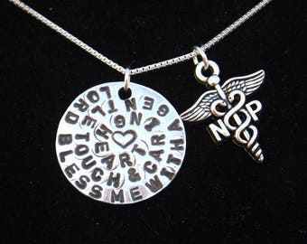 Nurse Practitioner Prayer necklace, NP Prayer necklace, Nurse Practitioner Graduation gift, Nurse Practitioner jewelry, NP jewelry, NPgift