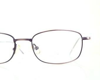 1980s Rectangular Reading Glasses Copper Metallic 80s Eighties Angular Womens Readers Ladies Girls Authentic Retro Vintage Deadstock