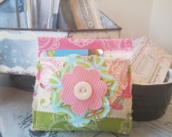 Handmade Scrappy Fabric Gift Card Holder Flower Button Pink and Green