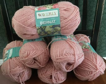 lot of 6 Bernat Waverly soft worsted category 4 yarn PRINCESS pink 3.5 ounces 197 yards acrylic skein knitting crochet discontinued new