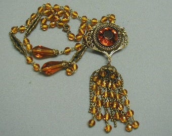 Amber Czech Glass Pendant Bead Fringe Necklace