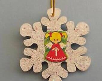 Vintage Glittered Wood Cute Angel Snowflake Ornament