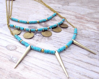 Layered Spike Necklace - Womens Layered Necklace - Bohemian Layered Turquoise Necklace - Bohemian Turquoise Necklace - Gifts for Her - Boho