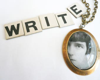 Vintage photograph portrait necklace Gift for writer Feminist jewelry Black and white Large necklace Statement necklace Katherine Mansfield