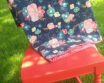 Whole Cloth Baby Quilt Hand Quilted Floral Pink
