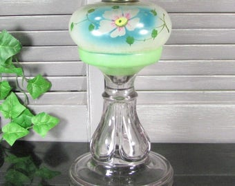 Antique HAND PAINTED FLORAL Oil Lamp Heavy Glass Vintage