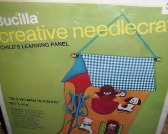 Craft Kit - Old Woman in a Shoe- Child's Learning Panel- Creative Needlecraft - Bucilla  Unused 1970s