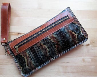 Leather Wristlet, Leather clutch, Zippered Clutch, Toiletry Pouch, Snake skin Wallet, Leather Bag, Birthday Gift, Gifts For Mom,Gift for Her