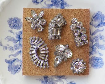Sparkling Clear Rhinestones / Rhinestone Vintage Jewelry Thumbtacks / Push Pins / Thumb Tacks, Bride / Bridal, Home Office, Bulletin Board