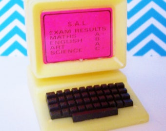 Retro Computer Cupcake Topper Miniature w Test Results Screen Vintage