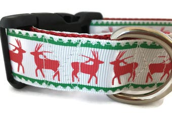 Christmas Dog Collar, Reindeer, 1 inch wide, adjustable, quick release, metal buckle, chain, martingale, hybrid, nylon