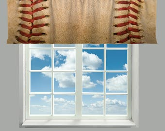 Custom Vintage Baseball Valances - Realistic graphic stitched baseball grunge design, any size