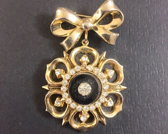 Vintage Coro Gold Tone Rhinestone dangle pin