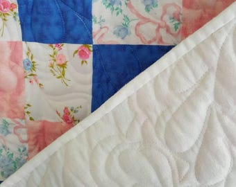 Pink and blue baby quilt -