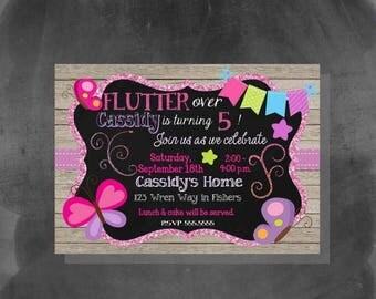ON SALE DIGITAL Butterflies Glitter & Chalkboard Birthday Girl Party Invitation