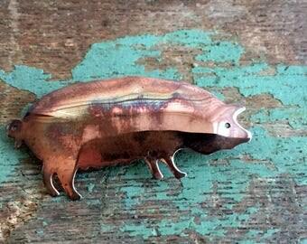 Vintage Modernist Copper Pig Brooch pin