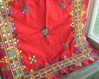 Vintage red Embroidery Table Cloth Wall Hanging Embroidery Mirrors Boho Hippie