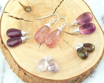 Interchangeable Earrings Set,Set of Five Smooth Gemstones,Strawberry Quartz,Garnet,Moss Amethyst,Andalucite,Purple Flourite,Sterling Silver