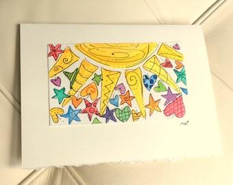 "Big Sun Raining Hearts And Stars  Watercolor Original Strathmore Card 5"""" x 6 7/8"" & Envelope Blank  betrueoriginals"