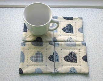 vintage fabric blue hearts hand quilted set of mug rugs coasters