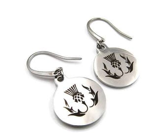 NEW Round Stainless Thistle Earrings (ERSS129)