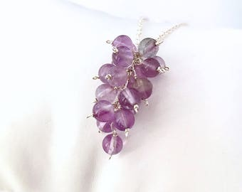 Amethyst Wine Lovers Necklace. Grape Cluster Sterling Silver Necklace. Natural Amethyst Gemstone Necklace.