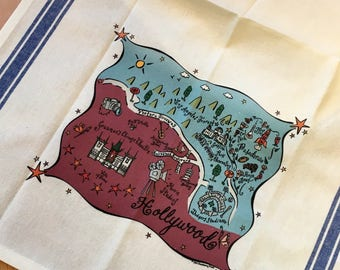 Hollywood Map Kitchen Tea Towel