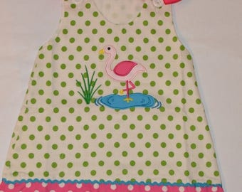 ON SALE 18 month Personalized Flamingo Dress Aline Jumper - CLEARANCE