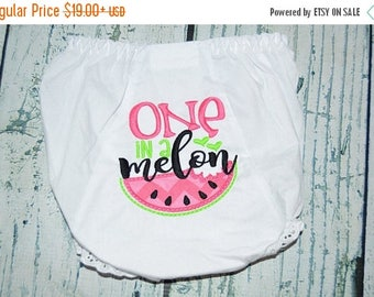 ON SALE One in a Melon Baby Bloomers - Birthday Watermelon Bloomer - Girls Diaper Cover