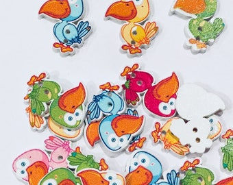 """25 Parrot Buttons,1"""" Tropical Bird Buttons for Crafts, Sewing, Scrapbooking, Whimsical Wooden Parrot Buttons, PARROT2"""
